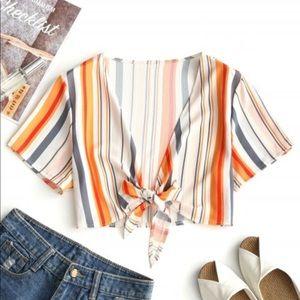 Striped Front Tie Crop Top